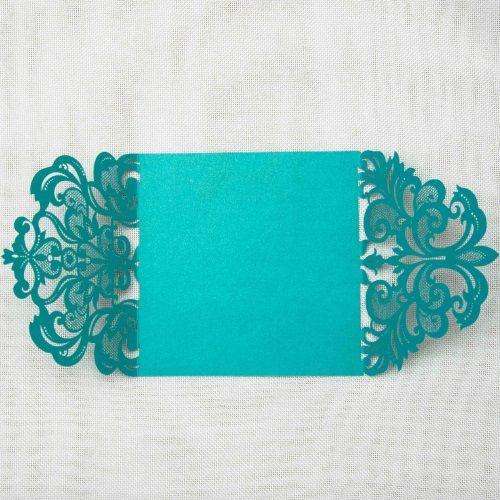 Invitación de boda modelo ILUSIÓN color verde azulado nacarado Macarons