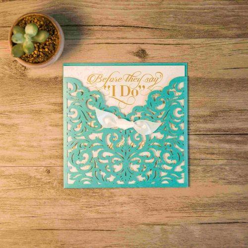 Invitación de boda modelo IMPULSE color tiffany macarons
