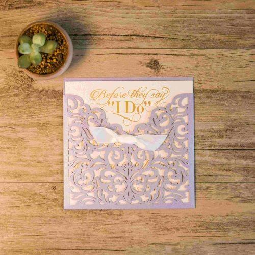 Invitación de boda modelo IMPULSE color lavanda nacarado macarons