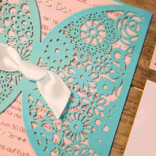 Invitaciones de boda personalizadas modelo ISLAND color tiffany nacarado Macarons