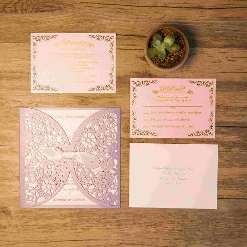 Invitaciones de boda personalizadas modelo ISLAND color lavanda nacarado Macarons