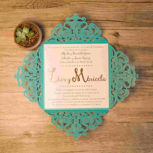 Invitación de boda modelo JOYA color verde azulado macarons