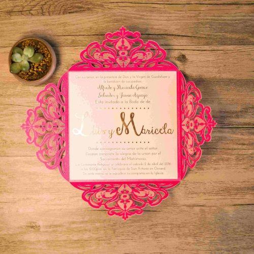 Invitación de boda modelo JOYA color fucsia macarons