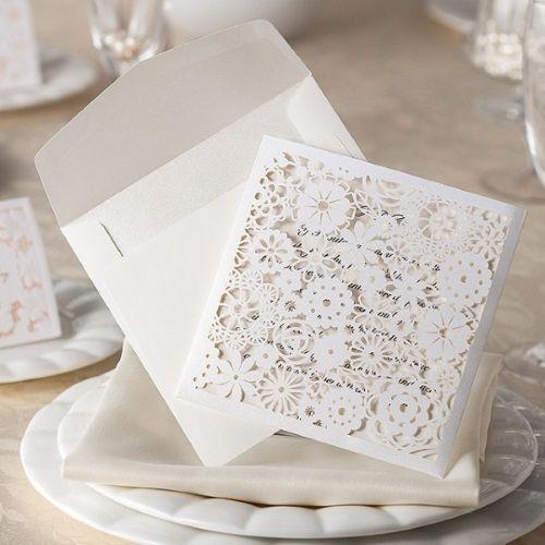 Invitaciones para comuniones modelo SALSA color blanco nacarado