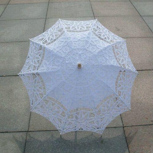 Sombrilla de encaje para novias color blanco
