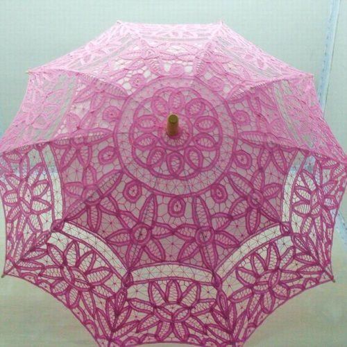Sombrilla de encaje para novias color rosa