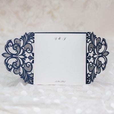invitacion de boda modelo caneda color azul brillante