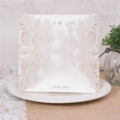 invitacion de boda modelo caneda color blanco nacarado
