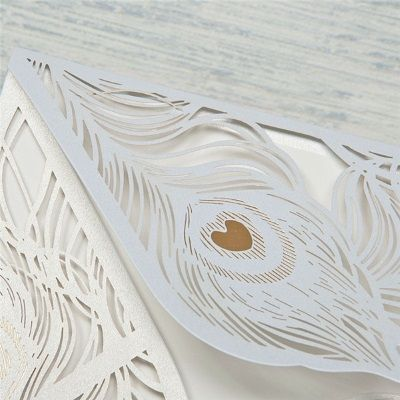 invitacion de boda modelo cisne color blanco nacarado
