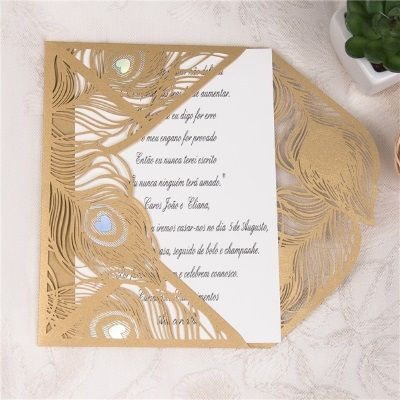 invitacion de boda modelo cisne color dorado nacarado