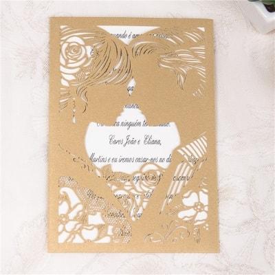 invitacion de boda modelo love color dorado nacarado
